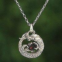 Garnet pendant necklace, 'Dragon's Gem' - Garnet and Sterling Silver Unisex Dragon Pendant Necklace
