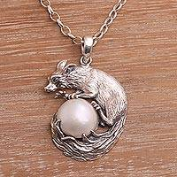 Cultured pearl pendant necklace, 'White Squirrel Orb' - White Cultured Pearl Squirrel Pendant Necklace from Bali