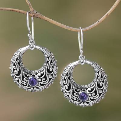 Amethyst dangle earrings, 'Violet Swirls' - Amethyst and Sterling Silver Dangle Earrings from Indonesia