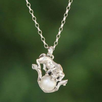 Cultured pearl pendant necklace, 'White Panther Orb' - White Cultured Pearl Panther Pendant Necklace from Bali