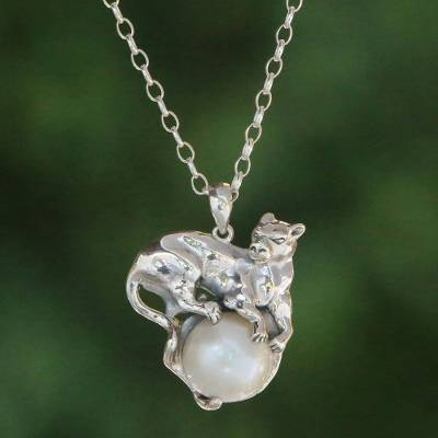 Cultured pearl pendant necklace, 'White Panther Moonlight' - Panther-Themed White Cultured Pearl Necklace from Bali