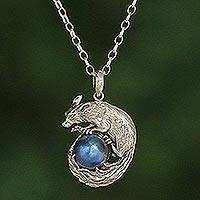 Cultured pearl pendant necklace, 'Blue Squirrel Orb' - Blue Cultured Pearl Pendant Necklace from Bali