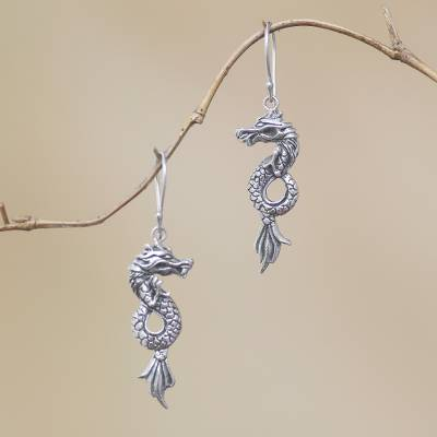 Sterling silver dangle earrings, 'Dramatic Dragons' - Handcrafted Sterling Silver Dragon Dangle Earrings