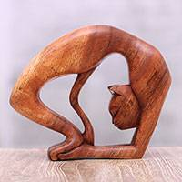 Wood sculpture, 'Setu Bandha Sirsasana Kitty' - Hand-Carved Suar Wood Cat Yoga Pose Sculpture from Bali