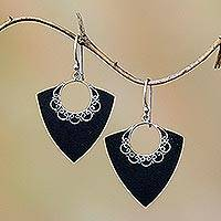 Sterling silver dangle earrings, 'Shooting Arrows' - Shooting Arrows Sterling Silver Lava Stone Dangle Earrings
