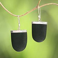 Sterling silver dangle earrings, 'Dark Empress' - Sterling Silver and Black Lava Stone Dangle Earrings
