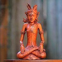 Wood statuette, 'Red Balinese Bridegroom' - Hand-Carved Red Suar Wood Groom Statuette from Bali
