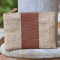 Leather accent jute clutch, 'Buaya Java' - Leather Accent Jute Clutch Crafted in Java