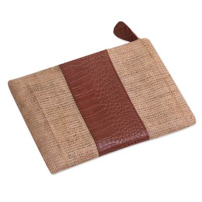 Leather Accent Jute Clutch Crafted in Java