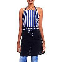 Cotton apron, 'Black and Blue Lurik' - Blue Black and White Cotton Striped Javanese Lurik Apron