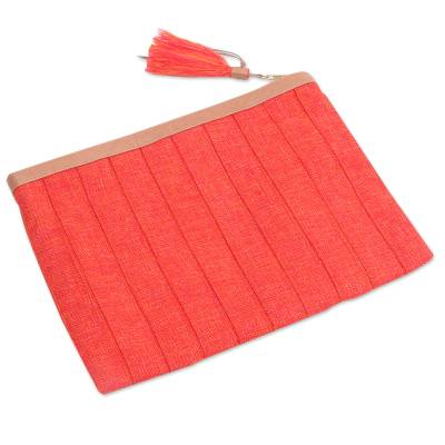 Leather Trim Tangerine Cotton Clutch Crafted in Java