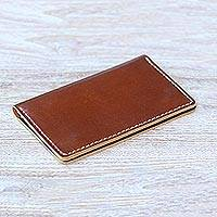 Leather passport wallet, 'Journey Mate in Brown' - Medium Brown Leather Snap Closure Bi-Fold Passport Wallet