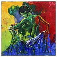 'Disappear' - Signed Expressionist Artistic Nude Painting from Bali