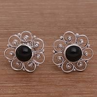 Onyx button earrings, 'Midnight Jepun' - Onyx and Sterling Silver Flower Motif Button Earrings