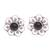 Onyx button earrings, 'Midnight Jepun' - Onyx and Sterling Silver Flower Motif Button Earrings (image 2a) thumbail