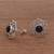 Onyx button earrings, 'Midnight Jepun' - Onyx and Sterling Silver Flower Motif Button Earrings (image 2b) thumbail