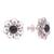 Onyx button earrings, 'Midnight Jepun' - Onyx and Sterling Silver Flower Motif Button Earrings (image 2c) thumbail