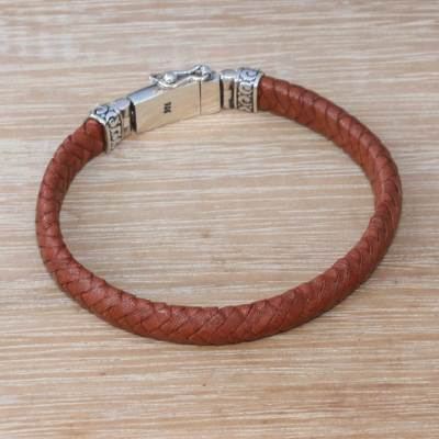 Leather wristband bracelet, 'Serene Weave in Brown' - Brown Leather Wristband Bracelet Crafted in Bali