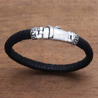 Leather braided wristband bracelet, 'Serene Weave in Black' - Black Leather Wristband Bracelet Crafted in Bali