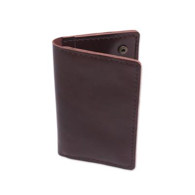 Dark Brown Leather Snap Closure Bi-Fold Passport Wallet