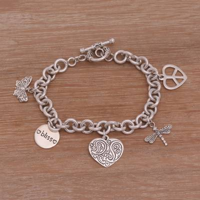 Sterling silver charm bracelet, 'Love and Bliss' - Peace Love and Bliss Sterling Silver Charm Bracelet