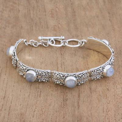 Rainbow moonstone link bracelet, 'Moonlight Mystery' - Rainbow Moonstone and Sterling Silver Link Bracelet