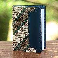 Batik cotton and faux leather planner, 'Lovely Thoughts' - Green Faux Leather Planner with Cotton Batik Print
