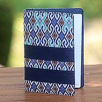 Batik cotton and faux leather planner, 'Jakarta Peacock' - Blue Faux Leather with Cotton Print Fifty-Page Planner