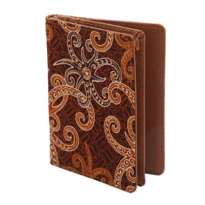 Brown and Gold Faux Leather Batik Floral Passport Case