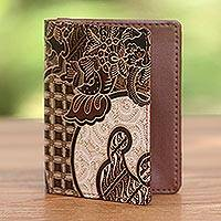 Batik cotton and faux leather passport case, 'Earthy Paradise' - Artisan Crafted Brown Faux Leather and Cotton Passport Case