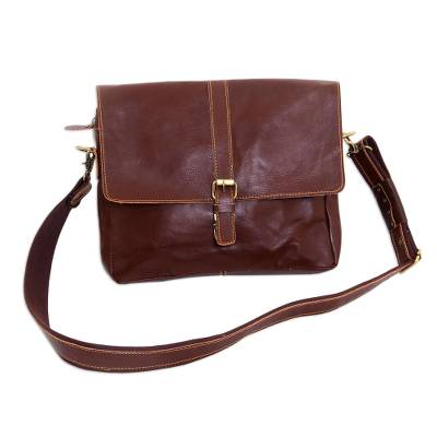 Handcrafted Leather Messenger Bag in Mahogany from Java