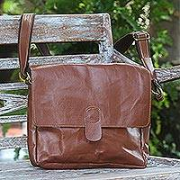 Leather messenger bag, 'Worldly Wanderer' - Brown Leather Shoulder Messenger Bag with Adjustable Strap