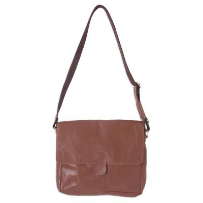 Brown Leather Shoulder Messenger Bag with Adjustable Strap