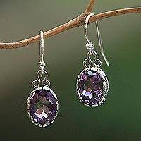 Amethyst dangle earrings, 'Lavender Pools' - Sterling Silver Faceted Oval Amethyst Dangle Earrings