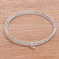 Sterling silver bangle bracelet, 'Starlinked' - Multi-Band Sterling Silver Bangle Bracelet from Java