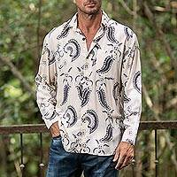 Men's rayon long sleeve shirt, 'Paisley Panache' - Men's Black Paisley on Pale Yellow Rayon Long Sleeve Shirt