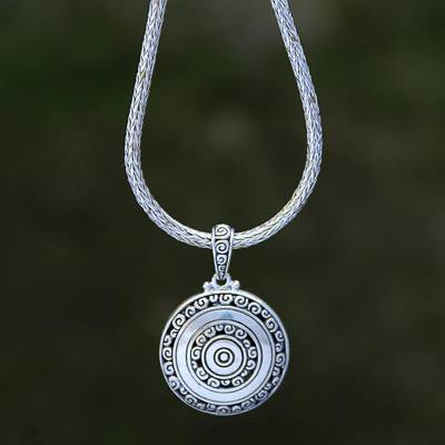 Reversible sterling silver pendant necklace, 'Secret Eden' - Reversible Sterling Silver Ornate Medallion Pendant Necklace