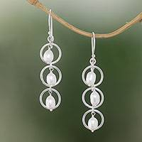 Cultured pearl dangle earrings, 'Bulan Hoops' - Sterling Silver Cultured Freshwater Pearl Dangle Earrings