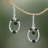 Onyx dangle earrings, 'Malam Lamp' - Sterling Silver and Faceted Black Onyx Dangle Earrings