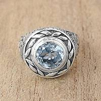 Blue topaz cocktail ring, 'Tari Lotus' - Blue Topaz Cocktail Ring Crafted in Bali