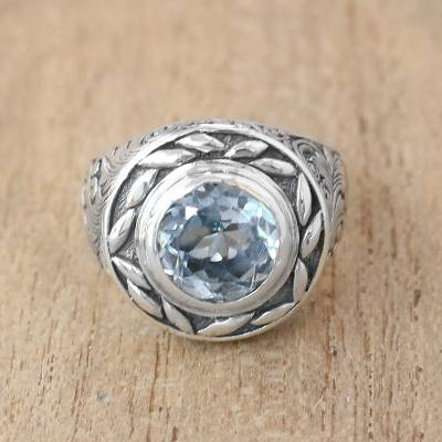 Blue Topaz Cocktail Ring Crafted in Bali