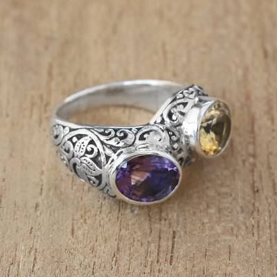 Amethyst and Citrine Cocktail Ring Crafted in Bali