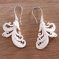Bone drop earrings, 'Vibrant Bali' - Hand-Carved Bone Drop Earrings Crafted in Bali