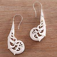 Bone drop earrings, 'Tampaksiring Forest' - Curl Motif Bone Drop Earrings Crafted in Bali
