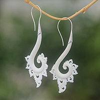 Bone drop earrings, 'Peaceful Spirals' - Spiral Motif Bone Drop Earrings Crafted in Bali
