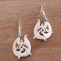 Bone dangle earrings, 'Temple Frills' - Bone and Sterling Silver Dangle Earrings from Bali