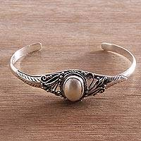 Cultured pearl cuff bracelet, 'Moonlight Shade' - Cultured Pearl Pendant Cuff Bracelet from Bali