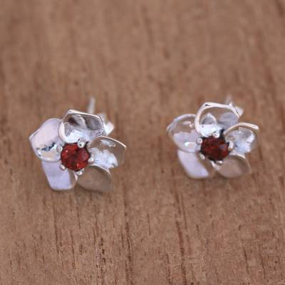 Garnet stud earrings, 'Jepun Soul' - Floral Garnet Stud Earrings Crafted in Bali