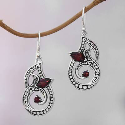 Garnet dangle earrings, 'Hope Blooms' - Faceted Garnet Dangle Earrings Crafted in Bali