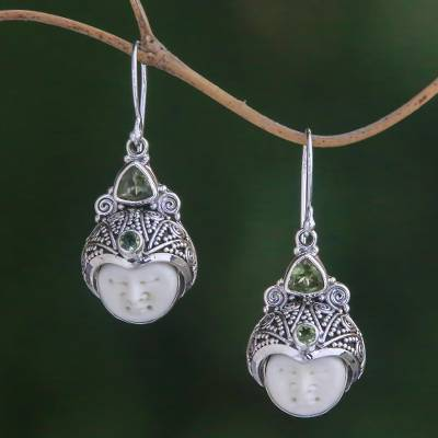 Peridot dangle earrings, 'Celuk Pangeran' - Peridot and Carved Bone Dangle Earrings from Bali